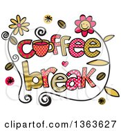 Clipart Of Colorful Sketched Coffee Break Word Art Royalty Free Vector Illustration