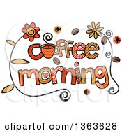 Clipart Of Colorful Sketched Coffee Morning Word Art Royalty Free Vector Illustration
