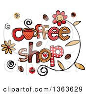 Clipart Of Colorful Sketched Coffee Shop Word Art Royalty Free Vector Illustration