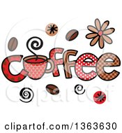 Clipart Of Colorful Sketched Coffee Word Art Royalty Free Vector Illustration