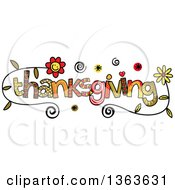 Clipart Of Colorful Sketched Thanksgiving Word Art Royalty Free Vector Illustration