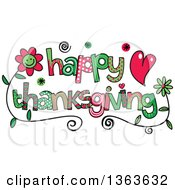 Clipart Of Colorful Sketched Happy Thanksgiving Word Art Royalty Free Vector Illustration