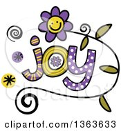 Clipart Of Colorful Sketched Joy Word Art Royalty Free Vector Illustration