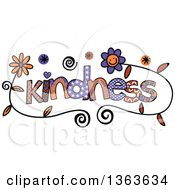 Clipart Of Colorful Sketched Kindness Word Art Royalty Free Vector Illustration