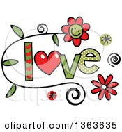 Clipart Of Colorful Sketched Love Word Art Royalty Free Vector Illustration
