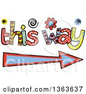 Clipart Of Colorful Sketched This Way And Arrow Word Art Royalty Free Vector Illustration by Prawny