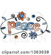 Clipart Of Colorful Sketched Peace Word Art Royalty Free Vector Illustration