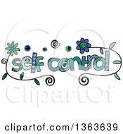Clipart Of Colorful Sketched Self Control Word Art Royalty Free Vector Illustration