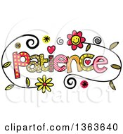 Clipart Of Colorful Sketched Patience Word Art Royalty Free Vector Illustration