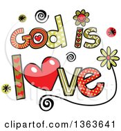 Clipart Of Colorful Sketched God Is Love Word Art Royalty Free Vector Illustration