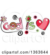 Clipart Of Colorful Sketched God Is Love Word Art Royalty Free Vector Illustration by Prawny