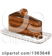 Clipart Of A Slice Of Layered Chocolate Cake Royalty Free Vector Illustration