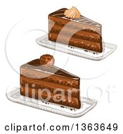 Clipart Of Slices Of Layered Chocolate Cake Royalty Free Vector Illustration