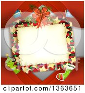 Clipart Of A Christmas Frame With Branches Ribbons And Gifts And Other Items Over Red Royalty Free Vector Illustration