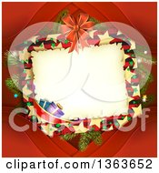 Clipart Of A Christmas Frame With Branches Ribbons And Gifts Over Red Royalty Free Vector Illustration