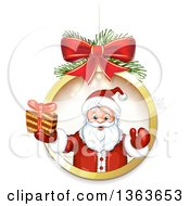 Clipart Of Santa Claus Holding A Christmas Gift And Emerging Fom A Suspended Bauble Frame Royalty Free Vector Illustration by merlinul