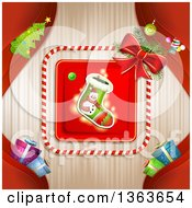 Clipart Of A Snowman Christmas Stocking In A Frame Over Stripes With Red Branches And Gifts Royalty Free Vector Illustration