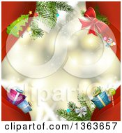 Clipart Of Red Waves With Christmas Items Framing A Sparkly Christmas Background Royalty Free Vector Illustration