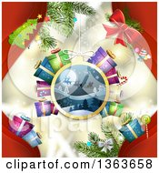 Clipart Of A Santa Sleigh Bauble Suspended Over Lights And Christmas Items With Red Royalty Free Vector Illustration