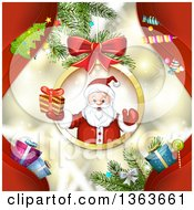 Clipart Of Santa Claus Holding A Christmas Gift And Emerging Fom A Suspended Bauble Frame Over A Background Of Red Waves Royalty Free Vector Illustration