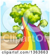 Clipart Of A Tree With A Rainbow Trunk Royalty Free Vector Illustration by merlinul