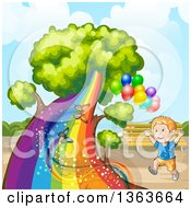 Clipart Of A Happy White Boy Running By A Tree With A Rainbow Trunk Butterflies And Balloons In A Park Royalty Free Vector Illustration by merlinul