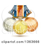 Clipart Of 3d Gold Bronze And Silver Medals On Ribbons Royalty Free Vector Illustration
