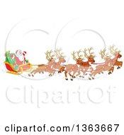 Cartoon Team Of Magic Flying Reindeer And Santa In His Sleigh