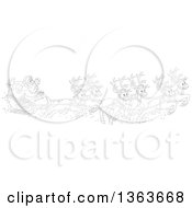 Clipart Of A Cartoon Black And White Team Of Magic Flying Reindeer And Santa In His Sleigh Royalty Free Vector Illustration
