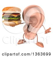 Clipart Of A 3d Ear Character Shrugging And Holding A Double Cheeseburger On A White Background Royalty Free Illustration