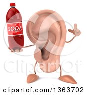 Clipart Of A 3d Ear Character Holding Up A Finger And A Soda Bottle On A White Background Royalty Free Illustration