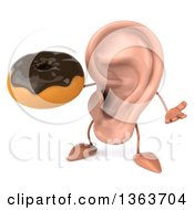 Clipart Of A 3d Ear Character Shrugging And Holding A Chocolate Glazed Donut On A White Background Royalty Free Illustration