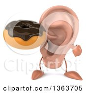 Clipart Of A 3d Ear Character Holding And Pointing To A Chocolate Glazed Donut On A White Background Royalty Free Illustration