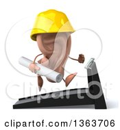 Clipart Of A 3d Ear Contractor Character Running On A Treadmill On A White Background Royalty Free Illustration