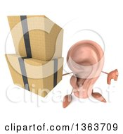 Clipart Of A 3d Ear Character Holding Up A Thumb Down And Boxes On A White Background Royalty Free Illustration
