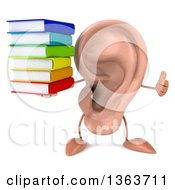 Clipart Of A 3d Ear Character Giving A Thumb Up And Holding A Stack Of Books On A White Background Royalty Free Illustration