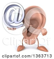 Clipart Of A 3d Ear Character Holding And Pointing To An Email Arobase At Symbol On A White Background Royalty Free Illustration