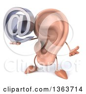 Clipart Of A 3d Ear Character Shrugging And Holding An Email Arobase At Symbol On A White Background Royalty Free Illustration