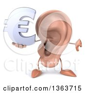 Clipart Of A 3d Ear Character Holding A Euro Currency Symbol And Giving A Thumb Down On A White Background Royalty Free Illustration