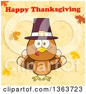 Clipart Of A Cartoon Cute Thanksgiving Turkey Bird Wearing A Pilgrim Hat And Waving Under Happy Thanksgiving Text Royalty Free Vector Illustration by Hit Toon