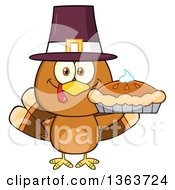 Clipart Of A Cartoon Cute Thanksgiving Turkey Bird Wearing A Pilgrim Hat And Holding A Pie Royalty Free Vector Illustration by Hit Toon