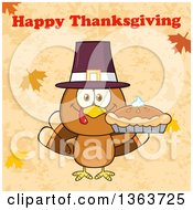 Clipart Of A Cartoon Cute Turkey Bird Wearing A Pilgrim Hat And Holding A Pie Under Happy Thanksgiving Text Royalty Free Vector Illustration by Hit Toon