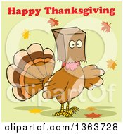 Clipart Of A Cartoon Turkey Bird Wearing A Bag Over His Head With Happy Thanksgiving Text And Autumn Leaves On Green Royalty Free Vector Illustration by Hit Toon