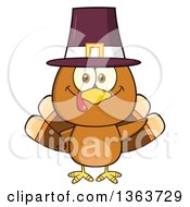 Clipart Of A Cartoon Cute Thanksgiving Turkey Bird Wearing A Pilgrim Hat And Waving Royalty Free Vector Illustration by Hit Toon