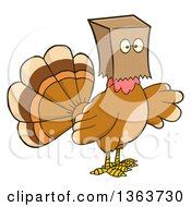 Clipart Of A Cartoon Thanksgiving Turkey Bird Wearing A Bag Over His Head Royalty Free Vector Illustration by Hit Toon