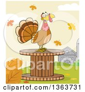 Clipart Of A Cartoon Turkey Bird On A Giant Wooden Spool In The Fall Royalty Free Vector Illustration by Hit Toon