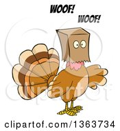 Clipart Of A Cartoon Thanksgiving Turkey Bird Barking And Wearing A Bag Over His Head Royalty Free Vector Illustration by Hit Toon