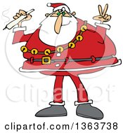 Santa Claus Wearing His Christmas Suit Holding A Joint And Gesturing Peace
