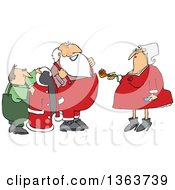 Mrs Claus Handing Santa A Pipe While An Elf Helps Him Put On His Christmas Suit