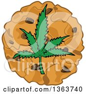 Clipart Of A Cartoon Pot Cookie With A Marijuana Leaf Royalty Free Vector Illustration